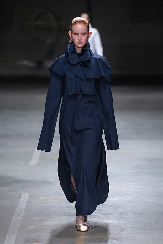 HAESUNG BONG, Shirtdress, Slim Navy with Cape, 면 100%, Cotton 100%